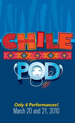 """Promotional graphic for """"Chili Pod"""" presented by the La Jolla Playhouse with only four performances on March 20 & 21, 2010."""