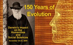 Promotional graphic for the Darwin Symposium at SDSU November 20-22, 2009.