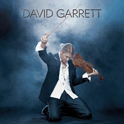 Cover of the new self titled CD by David Garrett. (David on his knees playing the violin)