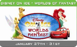 "Promotional graphic for Disney on Ice ""Worlds of Fantasy"" January 27 - 31, 2010 at the San Diego Sports Arena."