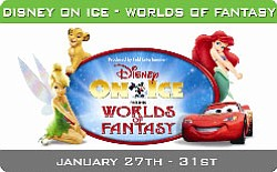 "Promotional graphic for Disney on Ice ""Worlds of Fantasy""..."