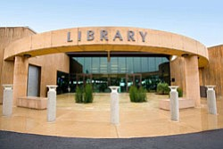 Exterior shot of the entrance to the Encinitas Library, l...