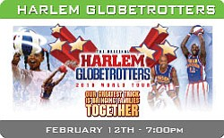Promotional graphic for the Harlem Globetrotters appearing at the San Diego Sports Arena on February 12, 2010.