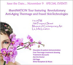Promotional graphic for the Anti-Aging IllumiNATION Tour on Nov 9, 5-8 p.m. at the San Diego Museum of Art, La Jolla.
