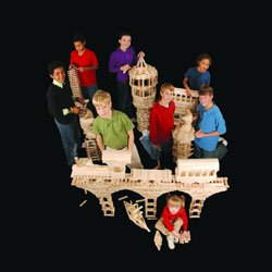 Photo of children working with KEVA (Knowledge – Exploration – Visual Arts) planks used to build structures from skyscrapers to suspension bridges!
