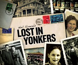 "Promotional graphic for ""Lost in Yonkers"" with performances at the Old Globe Theatre, Saturday, January 23 - Sunday, February 28, 2010. © The Old Globe Theatre"