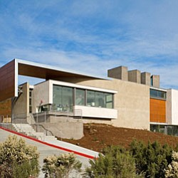 Exterior shot of the Lux Art Institute, located at 1550 S...