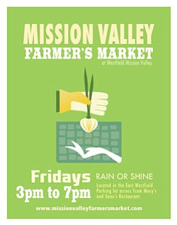 Promotional graphic for the new Mission Valley Farmer's Market on Fridays from 3-7 p.m.