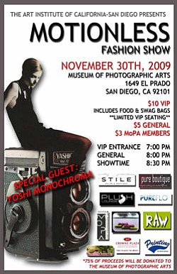 Promotional graphic for the Motionless fashion show on November 30, 2009 at the Museum of Photographic Arts in Balboa Park.