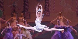 Live performance shot of dancers in The Nutcracker performed by the California Ballet.