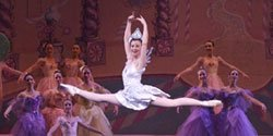 Live performance shot of dancers from The Nutcracker performed by the California Ballet.