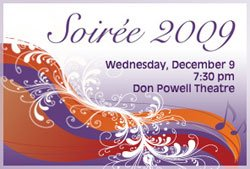 Promotional graphic for San Diego State University's Soireé of Music and Dance on Wednesday, December 9 at 7:30 p.m. in the Don Powell Theatre.
