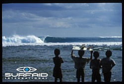 Promotional graphic for SurfAid International with childr...