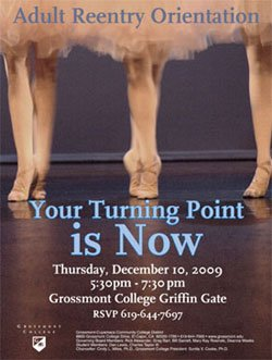 Promotional graphic for the Your Turning Point is NOW Orientation: Thursday, December 10, 2009 at Grossmont College Griffin Gate.
