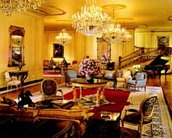 The grand lobby in the Westgate Hotel, located at 1055 Second Avenue, San Diego, CA, 92101.