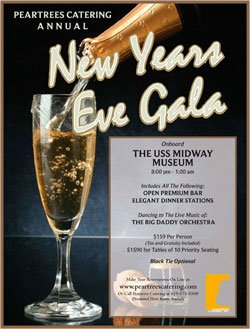 Promotional graphic for the New Year's Eve gala aboard the USS Midway Museum, December 31, 2010 from 8 p.m. – 1 a.m.