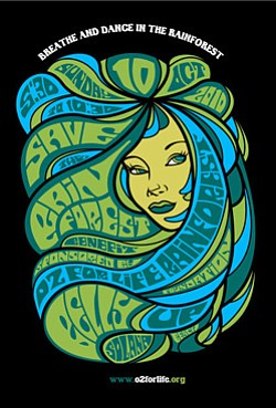 Graphic flyer for 02 For Life's The Save The Rainforest Benefit at the Belly Up Tavern on October 10.