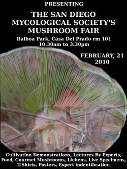 Promotional graphic for the Mushroom Fair sponsored by the San Diego Mycological Society on Sunday February 21, 2010 from 10:30-3:30 p.m. at Balboa Park, Casa Del Prado, Room 101.