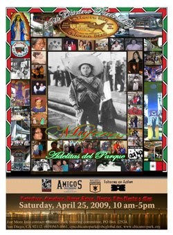 Promotional graphic for the 40th Chicano Park Day Celebration on Saturday, April 24, 2010, from 10 a.m. to 5 p.m., in historic Chicano Park.