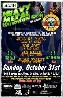 Promotional graphic for the Heavy Metal Halloween Bash & Costume Party at 4th & B.