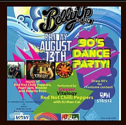 Flyer for Belly Up's 90's tribute night on Friday, August 13.