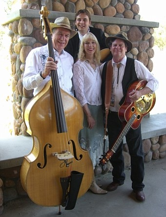 Image of the members of Blue Creek Band, Lance Gucwa, Sheila Jaffe, Will Jaffe & Alex Finazzo, Between Sets at Ramona Bluegrass Festival.