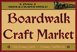 Graphic logo for The Boardwalk Craft Market, a juried show with sale of arts and crafts by San Diego County artists.