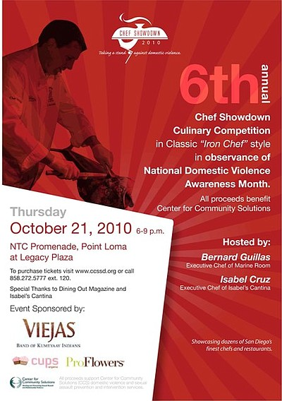 Graphic flyer for the 2010 Chef Showdown benefiting the Center for Community Solutions' sexual assault and domestic violence prevention and intervention programs and services.