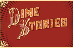 Graphic logo for DimeStories, presented By Friends Of The Encinitas Library.