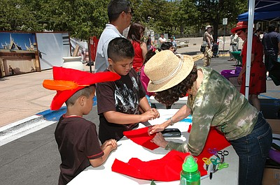 Kids doing crafts activities at a past Family Day event.