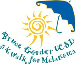 Graphic logo for the annual Bruce Gorder UCSD 5K Walk For Melanoma.