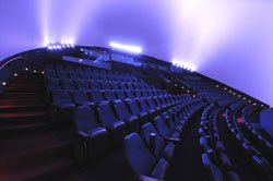 Interior shot of the Heikoff Dome Theater at the Reuben H. Fleet Science Center.