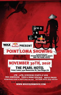 """Promotional graphic for the Point Loma screening of  Jamie O'Brien's latest film, """"Who is J.O.B."""" at The Pearl Hotel on November 30, 2010."""
