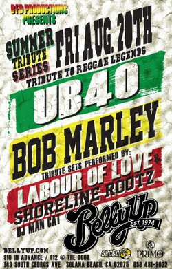 Event flyer for the Tribute to the Reggae Legends: UB40 & Bob Marley show at Belly Up Tavern.
