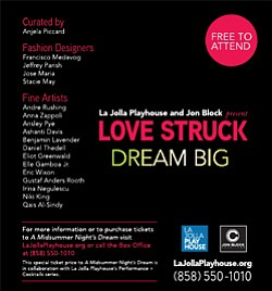 Promotional event flyer for Jon Block Creations's Love Struck event, inspired by La Jolla Playhouse's current production of A Midsummer Night's Dream.