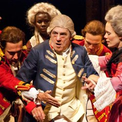 "Miles Anderson (center) as King George III with (l. to r.) Steven Marzolf, Shirine Babb, Ben Diskant and Emily Swallow in the 2010 Shakespeare Festival production of Alan Bennett's ""The Madness of George III"" directed by Adrian Noble, at The Old Globe June 19 - Sept. 24, 2010. Photo courtesy of The Old Globe."