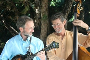 Image of MandoBasso, a duo featuring Gunnar Biggs on bass and Bill Bradbury on mandolin.