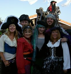 Image of the San Diego based jazz/Celtic band, Raggle Taggle in pirate costumes.
