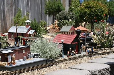 Image of a garden railroad created by members of the San Diego Garden Railroad Society.