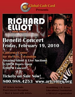 Promotional graphic for the Richard Elliot Benefit Concert, featuring Richard Elliot holding his saxophone.