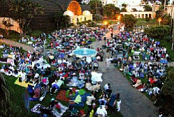 "Image of movie-goers ""on the green"" at the San Diego Museum of Art's Screen on the Green event."