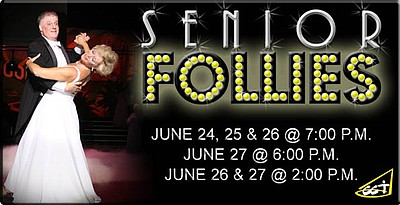 "Promotional graphic for the 4th Annual ""Senior Follies,"" with performances at the historic Balboa Theater, June 24-27, 2010."