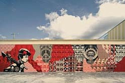 Shepard Fairey's Street Mural Miami, a stencil and mixed ...