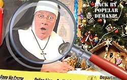 Promotional flyer for 'Sister's Christmas Catechism' - a festive, mystery, comedy performance.