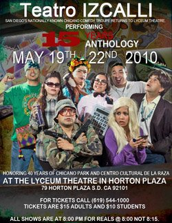 Event flyer for Teatro Izcalli 15th Anniversary Anthology.
