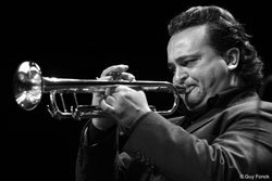 Andrea Tofanelli playing the trumpet. Photo by Guy Fonck.
