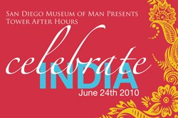 Promotional graphic for the Tower After Hours: India event at the Museum of Man in Balboa Park.