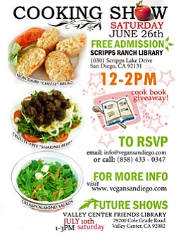 Flyer for the June 26 cooking show by Vegan San Diego.