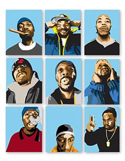 Members of the Wu-Tang Clan depicted in a cartooned fashion