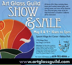 Event graphic for the Art Glass Guild's 2010 Annual Patio Show and Sale in Balboa Park.